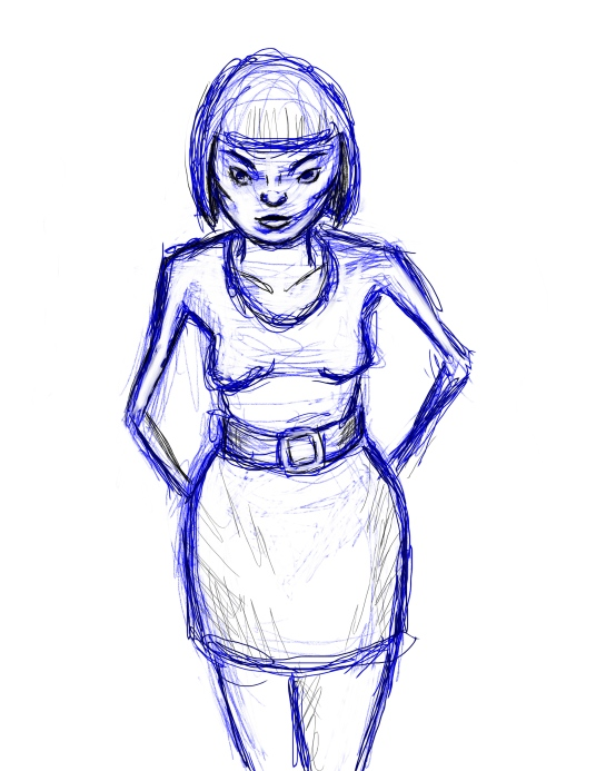 A shaky sketch of a woman wearing a miniskirt and with a short straight bobl