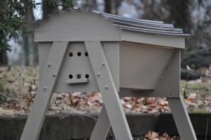 The exterior of a topbar beehive.