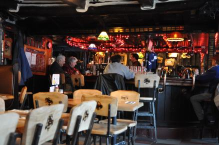 The interior of a brewpub.
