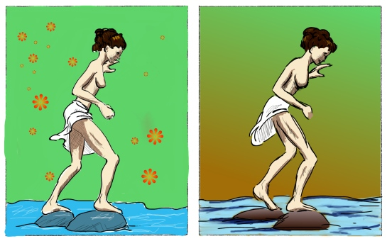 A two panel comic sequence of a woman jumping over rocks.