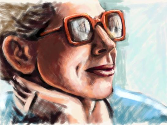 A sketch of the head of a middle aged woman in sunglasses.