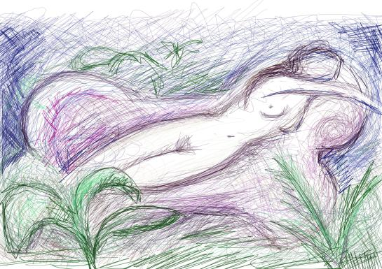 A scribble of a woman reclining on a sofa.