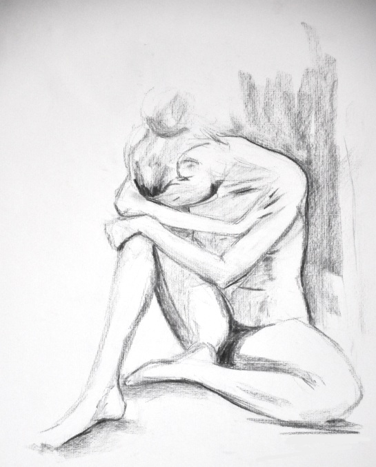 A charcoal sketch of a nude sitting on the ground with one knee bent and here arms folded around her knee and her head resting on her forearms.