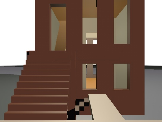 A 3d computer model of a brownstone. The facade viewed from the street.