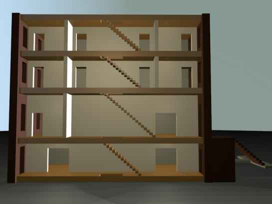 A view of one side of the model with the exerior side wall removed revealing the staircase.