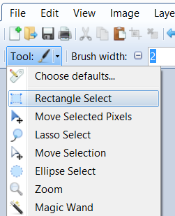 Screen shot from Paint.net showing the location of the Rectangle Select tool