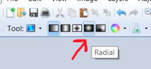 screen shot showing the location of the radial mode icon