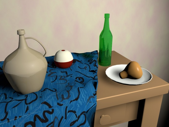 An image of a 3D model of a still life.
