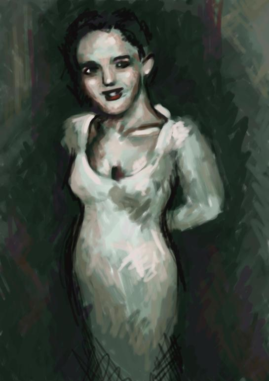 A digital painting of a woman in a white dress.