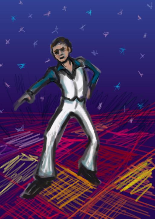 A sketch of a man dancing in a disco.