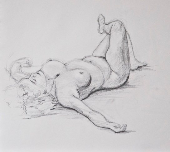 A sketch of a naked woman lying on her back.