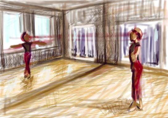 A sketch of a dancer facing a mirror in a dance studio.