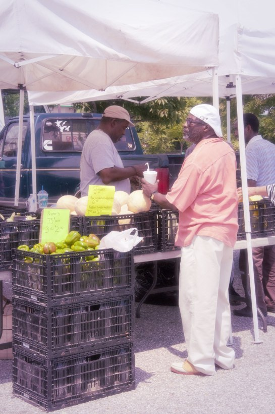 A vendor at a farmers market and a customer.