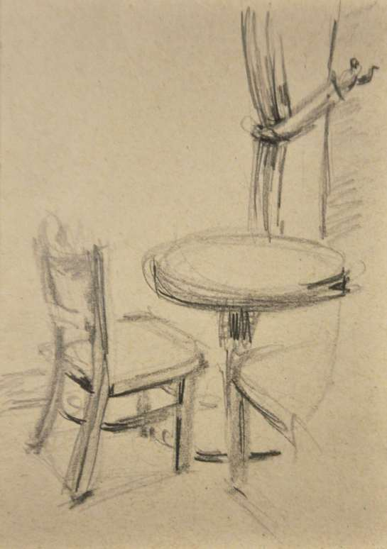 A pencil sketch of a cafe table.