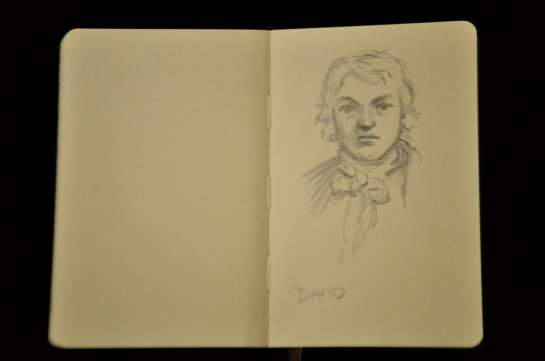 Obviously, I sketched this in another room. It is, I'm afraid, a poor copy of David's self-portrait.