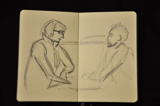 """I did a quick sketch of a couple of men seated across from me. Two little girls came up and asked if they could see. Then they wanted to know if """"les messieurs"""" knew about being sketch. I told the girls that I did not know."""