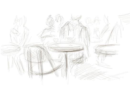 a sketch of some people at a cafe.