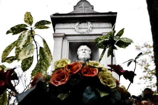 Ingres' monument with flowers.