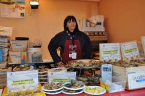 woman selling oysters