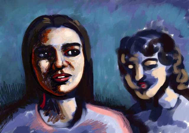 A digital painting of two women talking.