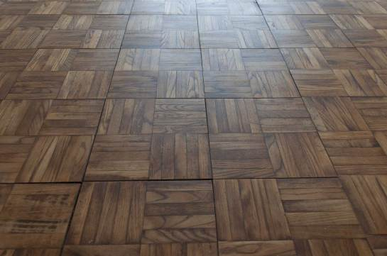 a parquet tiled wood floor