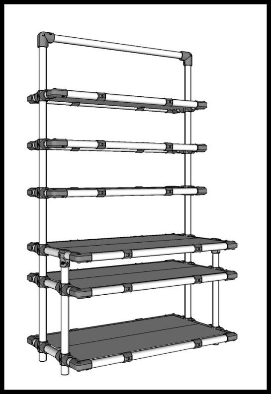 A bookshelf drawn using SketchUp.