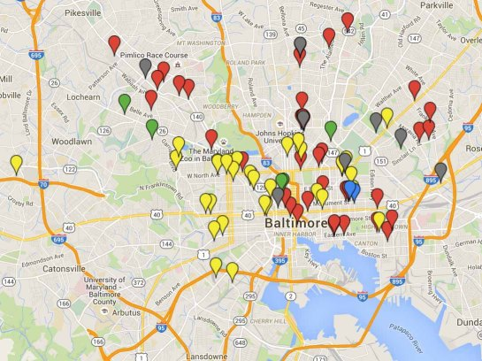 A Google map showing the locations of some incidents on April 27, 2015 in Baltimore.