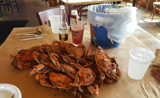Steamed crabs on a table.