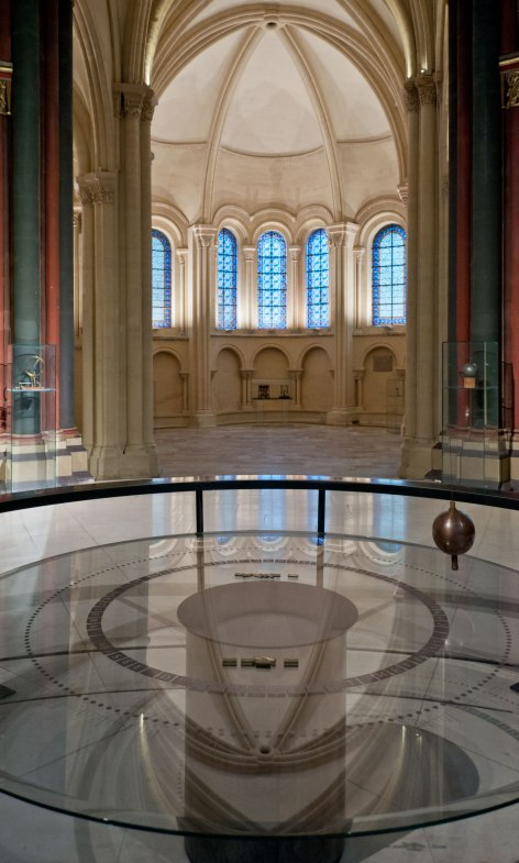 The famous pendulum, inside the church, looking towards the apse.