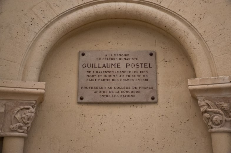 A memorial to the heretic, Guillaume Postel, who was confined to the priory.